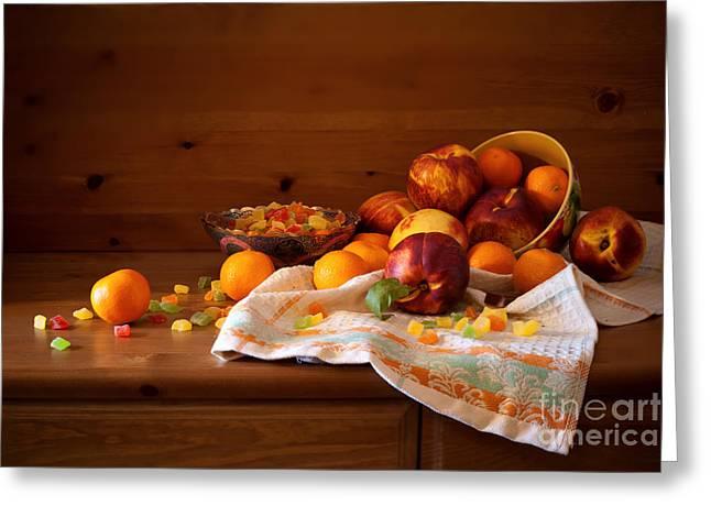 Tangarine Greeting Cards - Autumn Sweets - Vintage Greeting Card by Boris Suntsov