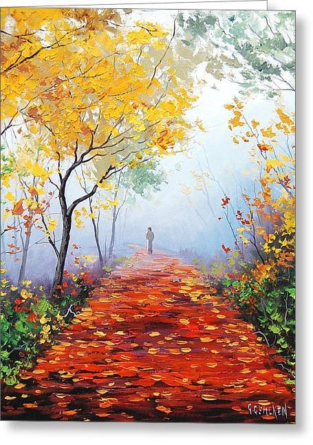 Fall Trees Paintings Greeting Cards - Autumn Trail Greeting Card by Graham Gercken
