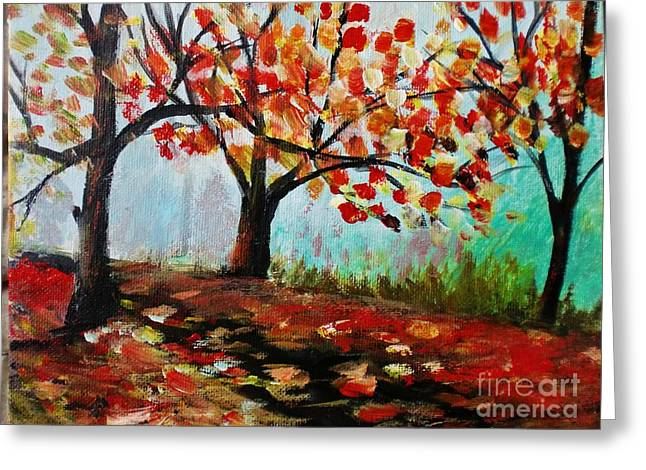 Trilby Cole Greeting Cards - Autumn Trail Greeting Card by Trilby Cole