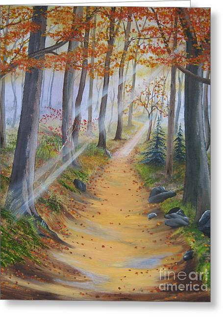 Smoky Paintings Greeting Cards - Autumn Tranquility Greeting Card by RJ McNall