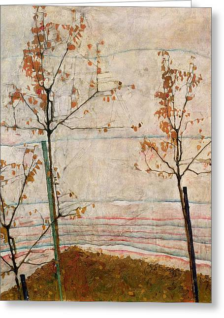 Windy Paintings Greeting Cards - Autumn Trees Greeting Card by Egon Schiele