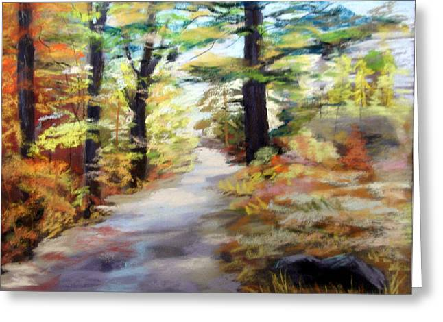 Autumn Walk in the Woods Greeting Card by TRUDY MORRIS