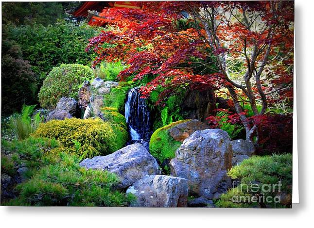Fall Colors Digital Art Greeting Cards - Autumn Waterfall Greeting Card by Carol Groenen