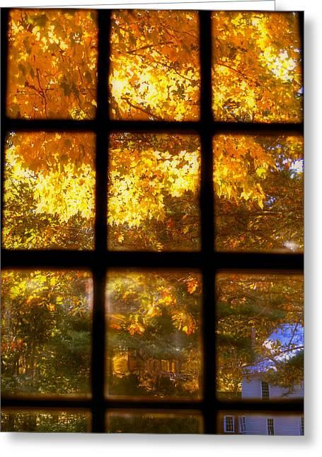 Sturbridge Village Greeting Cards - Autumn Window 2 Greeting Card by Joann Vitali