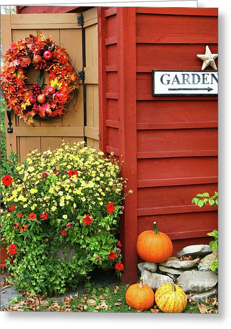 Autumn Decorations Greeting Cards - Autumn wreath  Greeting Card by Sandra Cunningham