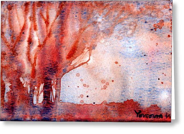 Wet Into Wet Watercolor Greeting Cards - Autumn Greeting Card by Yevgenia Watts