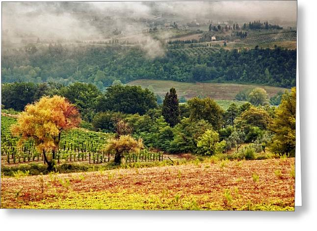 Tuscan Hills Greeting Cards - Autumnal hills Greeting Card by Silvia Ganora