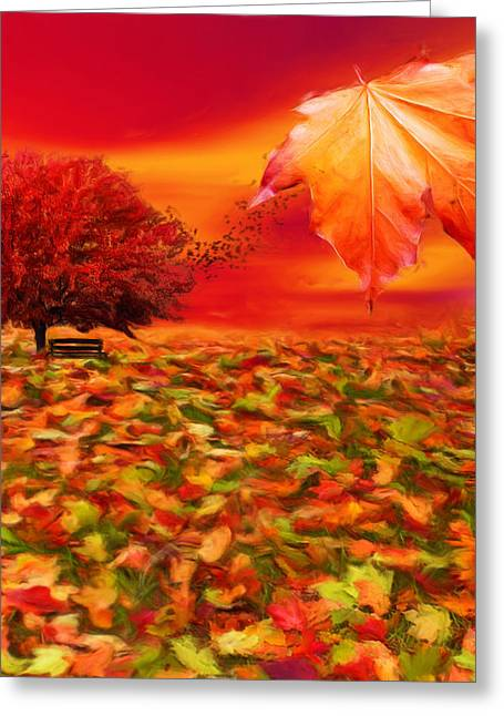 Red Maple Trees Greeting Cards - Autumnal Scene Greeting Card by Lourry Legarde