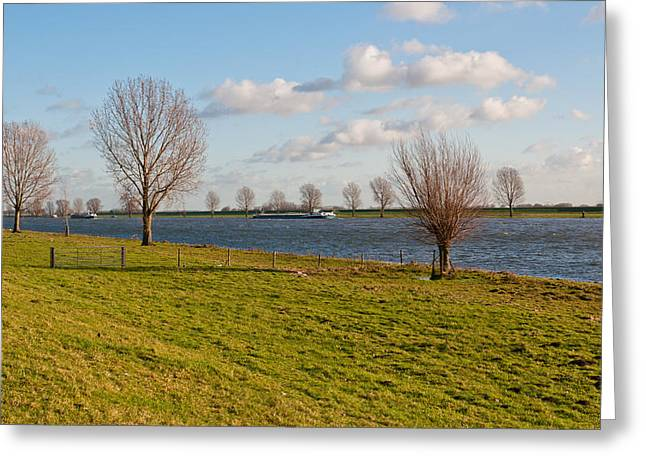 Blue Green Water Greeting Cards - Autumnal view at floodplains and a river Greeting Card by Ruud Morijn