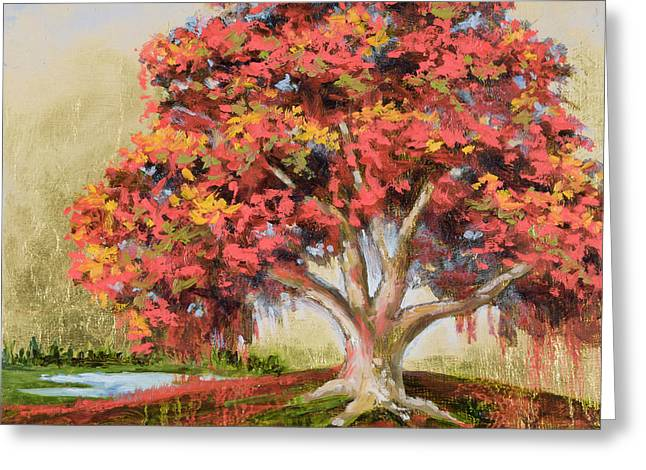 Mo Artist Paintings Greeting Cards - Autumns Delight Greeting Card by Vic  Mastis