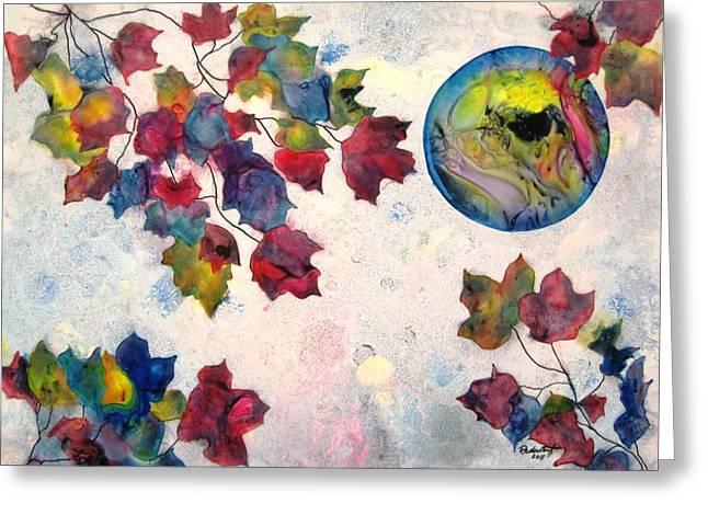 Representative Abstract Mixed Media Greeting Cards - Autumns Jewels Greeting Card by David Raderstorf