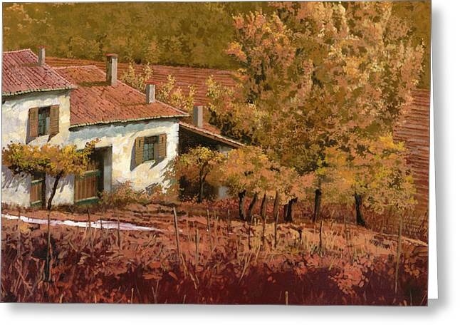 autunno rosso Greeting Card by Guido Borelli