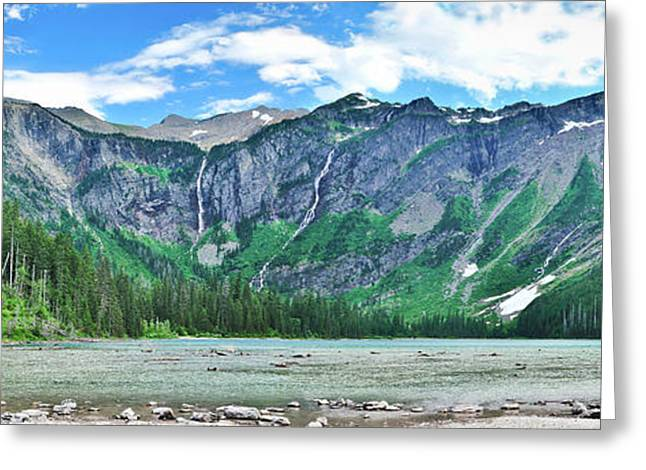 Glacier National Park Greeting Cards - Avalanche Lake Panorama Greeting Card by Greg Norrell