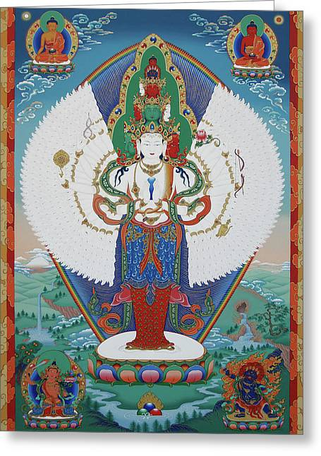 Folklore Greeting Cards - Avalokiteshvara Lord of Compassion Greeting Card by Sergey Noskov