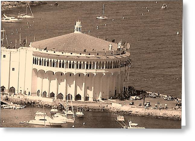 Avalon Casino in Sepia Greeting Card by Paula Greenlee