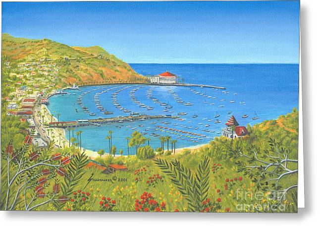 Casino Pier Paintings Greeting Cards - Avalon Catalina Island Greeting Card by Jerome Stumphauzer