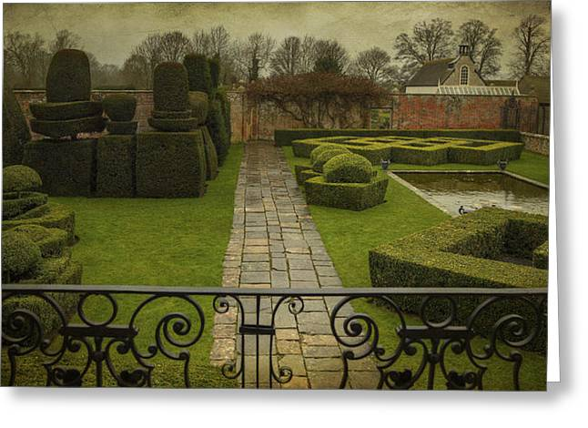 Bambers Greeting Cards - Avebury Manor Topiary Greeting Card by Clare Bambers
