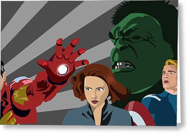 Avengers Assemble Greeting Card by Lisa Leeman