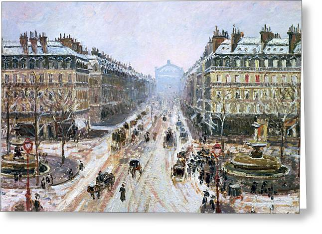 Snowfall Greeting Cards - Avenue de lOpera - Effect of Snow Greeting Card by Camille Pissarro