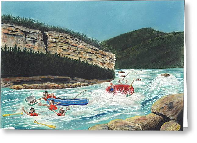 Rapids Pastels Greeting Cards - Averting Disaster Greeting Card by Tim Koziol