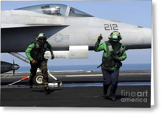 Operation Enduring Freedom Greeting Cards - Aviation Boatswain Mates Signal A Clear Greeting Card by Stocktrek Images