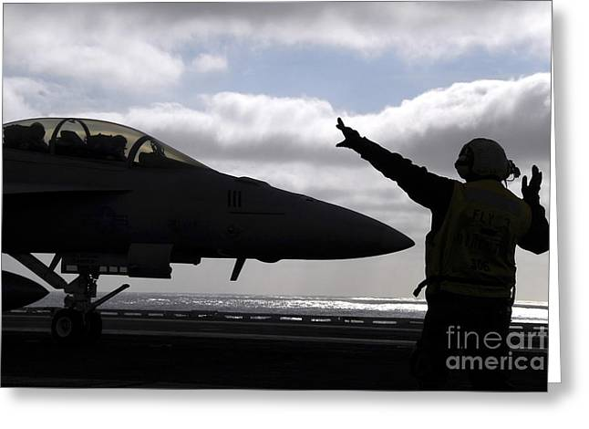 F-18 Greeting Cards - Aviations Boatswains Mate Directs An Greeting Card by Stocktrek Images