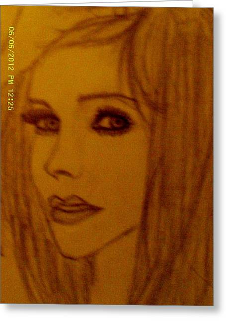 Human Beings Drawings Greeting Cards - Avril Lavigne Greeting Card by Cindy Newings