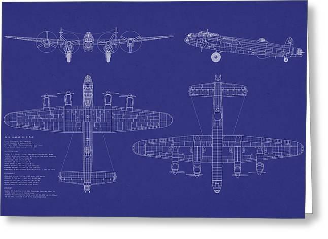 Raf Greeting Cards - Avro Lancaster Bomber Blueprint Greeting Card by Michael Tompsett