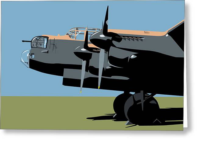 Plane Greeting Cards - Avro Lancaster Bomber Greeting Card by Michael Tompsett
