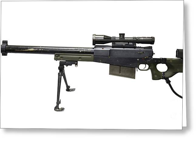 Bipod Greeting Cards - Aw50 Anti-materiel Bolt-action .50 Greeting Card by Andrew Chittock