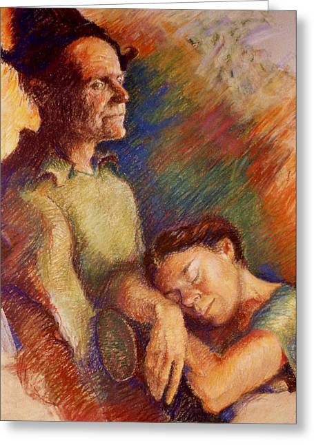 Couple Pastels Greeting Cards - Awake and Asleep Greeting Card by Ellen Dreibelbis