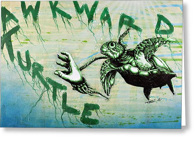 Aquatic Mixed Media Greeting Cards - Awkward Turtle Greeting Card by Iosua Tai Taeoalii