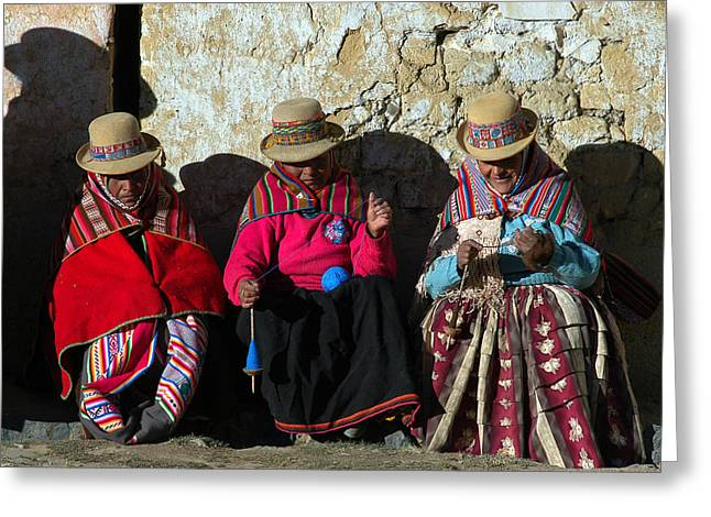Bolivia Greeting Cards - Aymara women spinning wool. In the Bolivian Altiplano. Greeting Card by Eric Bauer