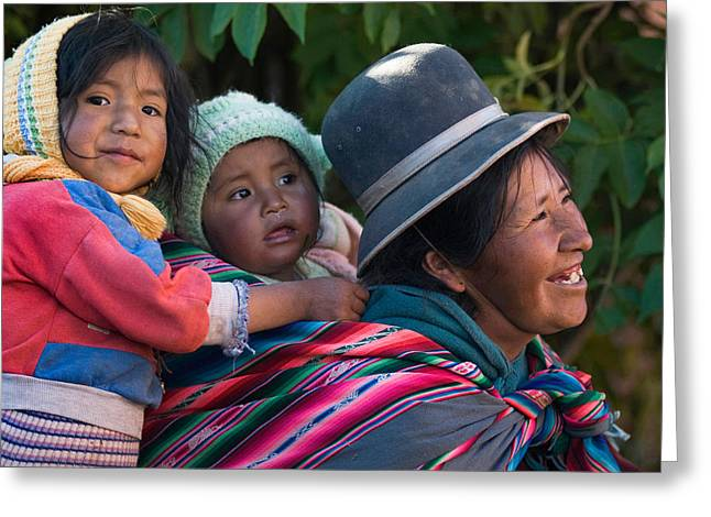 Bolivia Greeting Cards - Aymara women with their children. Republic of Bolivia. Greeting Card by Eric Bauer