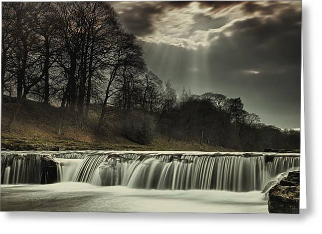 Water Flowing Greeting Cards - Aysgarth Falls Yorkshire England Greeting Card by John Short