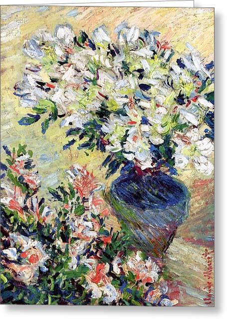 Petal Greeting Cards - Azaleas Greeting Card by Claude Monet
