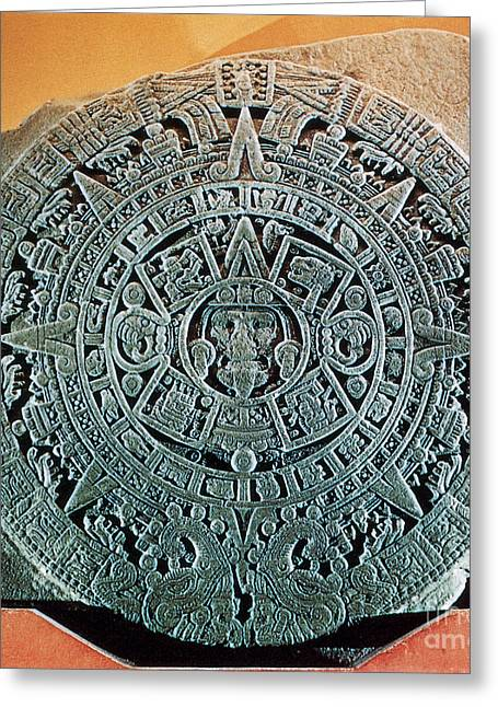 The Sun God Photographs Greeting Cards - Aztec Calendar Stone Greeting Card by Science Source