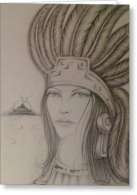 Aztec Princess Greeting Card by Rene Nava - aztec-princess-rene-nava