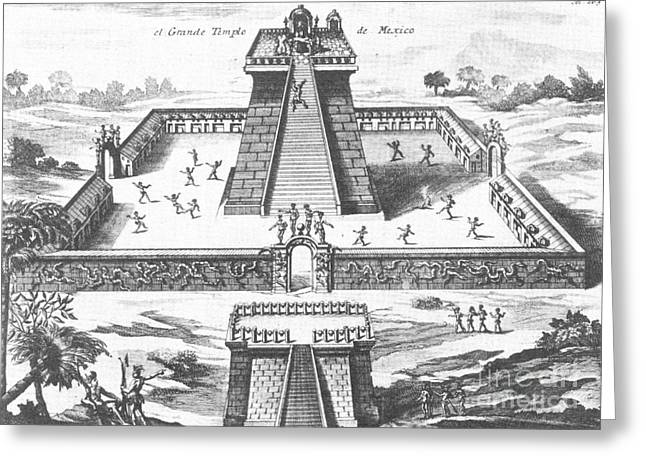 Montezumas Well Greeting Cards - Aztec Temple At Tenochtitlan Greeting Card by Photo Researchers