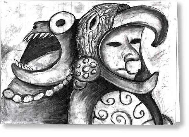 Spirt Drawings Greeting Cards - Aztec Warrior Spirit Greeting Card by Rae Hauck