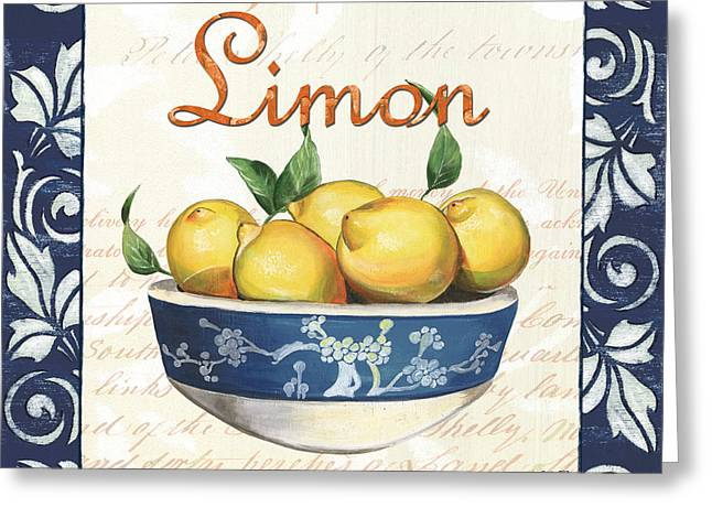 French Text Greeting Cards - Azure Lemon 3 Greeting Card by Debbie DeWitt