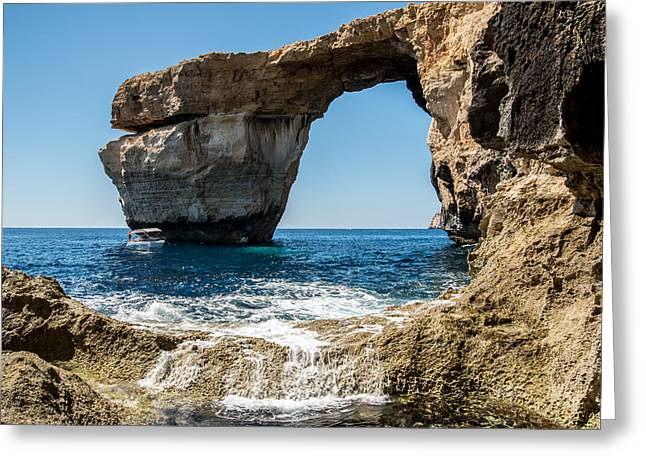 Greeting Cards - Azure Window One Greeting Card by Josh Whalen