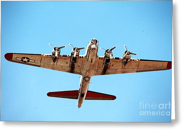 Thanh Tran Greeting Cards - B-17 Bomber - Technicolor Greeting Card by Thanh Tran