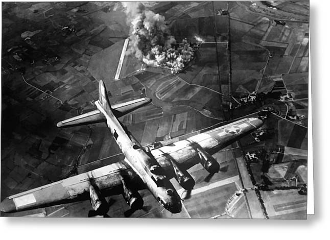 Ww2 Greeting Cards - B-17 Bomber Over Germany  Greeting Card by War Is Hell Store