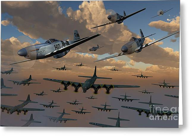 Raid Greeting Cards - B-17 Flying Fortress Bombers And P-51 Greeting Card by Mark Stevenson