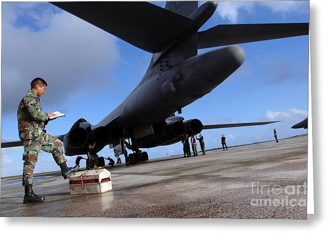 Reading Of Image Greeting Cards - B-1b Lancer Mechanics Inspect Greeting Card by Stocktrek Images