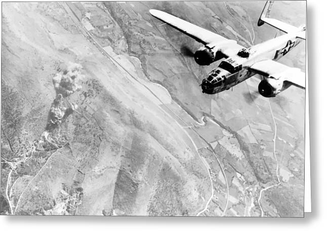 B Greeting Cards - B-25 Bomber Over Germany Greeting Card by War Is Hell Store