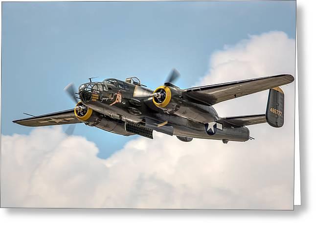 B-25 Mitchell Greeting Cards - B-25 Georgies Gal Greeting Card by Bill Lindsay