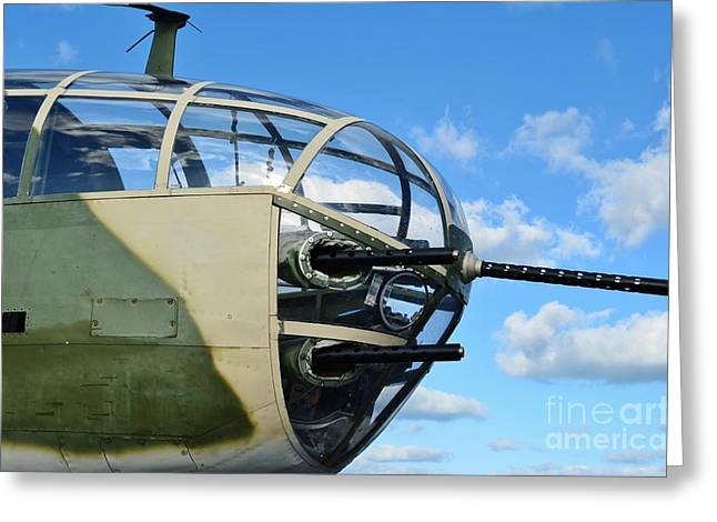 2011 Vna Stuart Airshow Greeting Cards - B-25J Nose Greeting Card by Lynda Dawson-Youngclaus