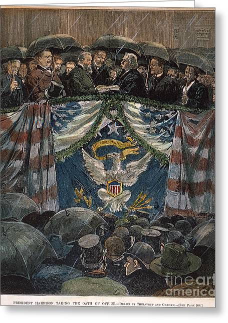 Oath Of Office Greeting Cards - B. Harrison: Inauguration Greeting Card by Granger